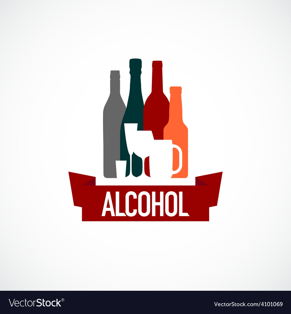 Alcohol sign different bottle and glass vector | Price: 1 Credit (USD $1)