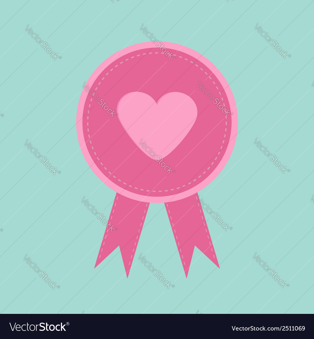 Badge with heart and ribbons blue background award vector | Price: 1 Credit (USD $1)