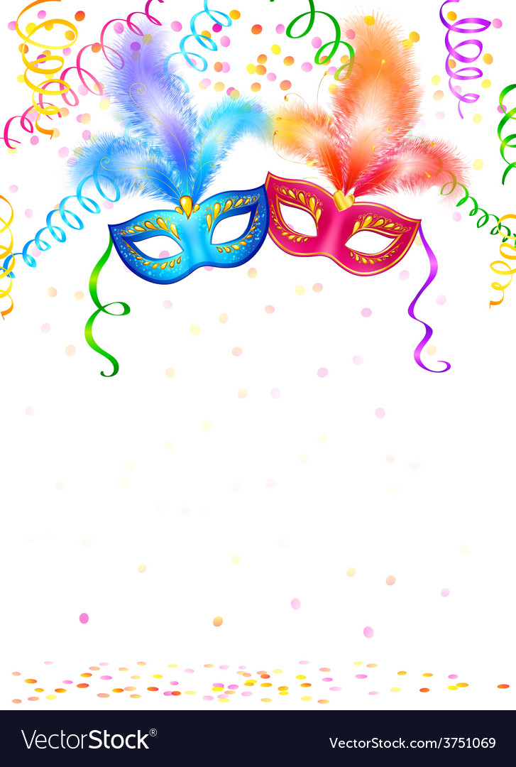 Bright carnival masks with confetti and serpentine vector | Price: 3 Credit (USD $3)