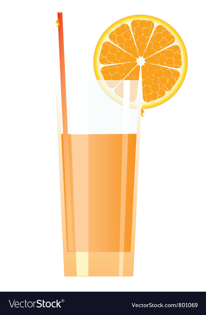 Cocktail in high glass with orange vector | Price: 1 Credit (USD $1)