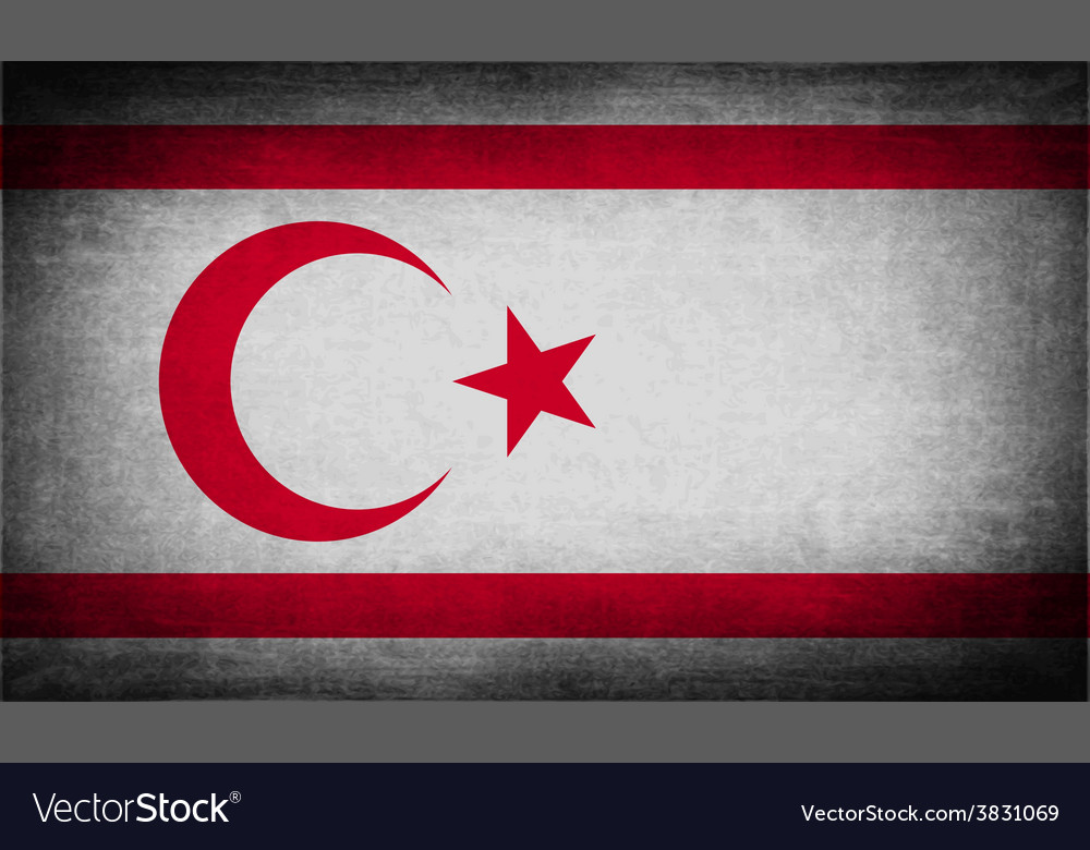 Flag of turkish and northern cyprus with old vector | Price: 1 Credit (USD $1)