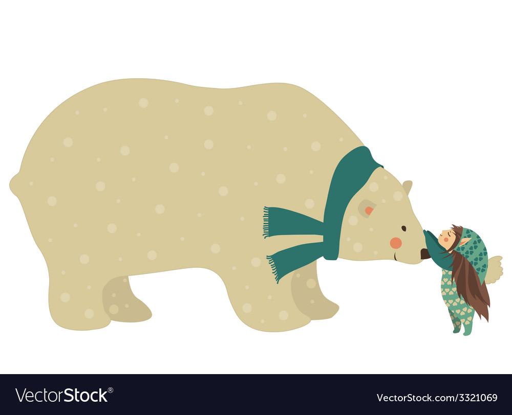 Little angel and polar bear vector | Price: 1 Credit (USD $1)