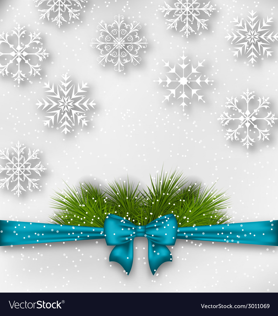New year background with bow ribbon and fir vector | Price: 1 Credit (USD $1)