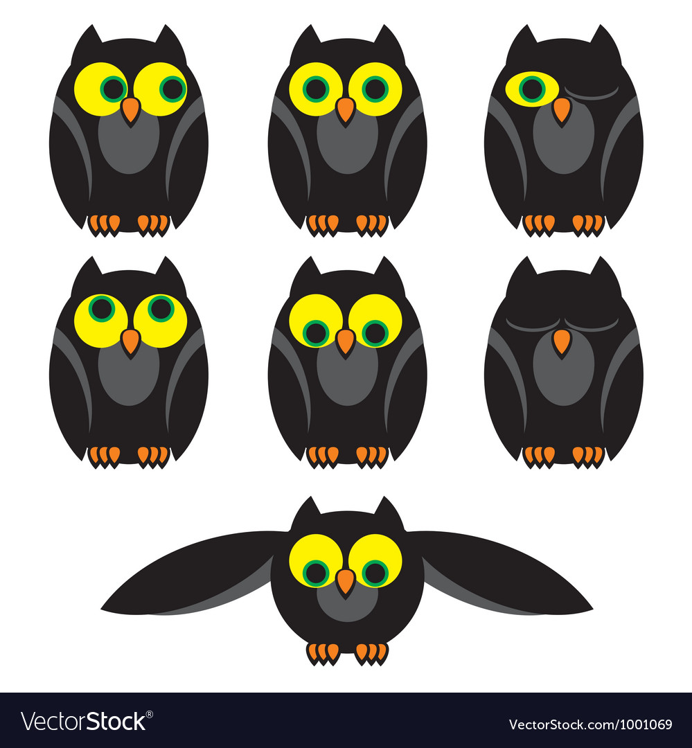 Owl set vector | Price: 1 Credit (USD $1)