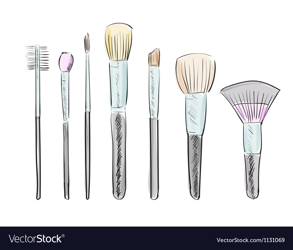 Set of hand drawn makeup brushes vector | Price: 1 Credit (USD $1)
