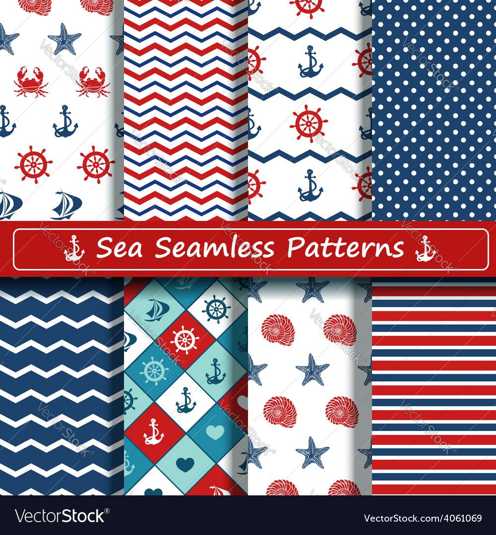 Set of sea seamless patterns vector