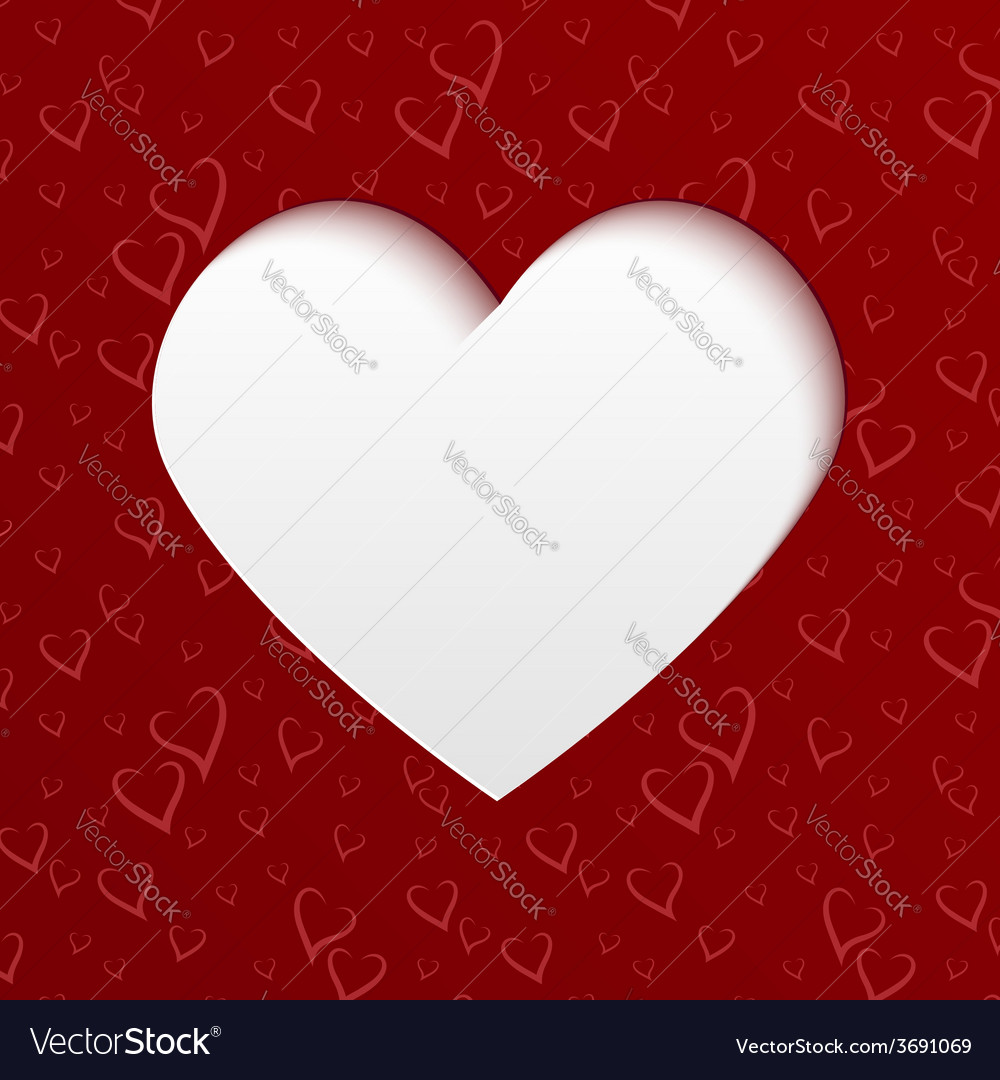 Valentines day card with paper cut heart vector | Price: 1 Credit (USD $1)