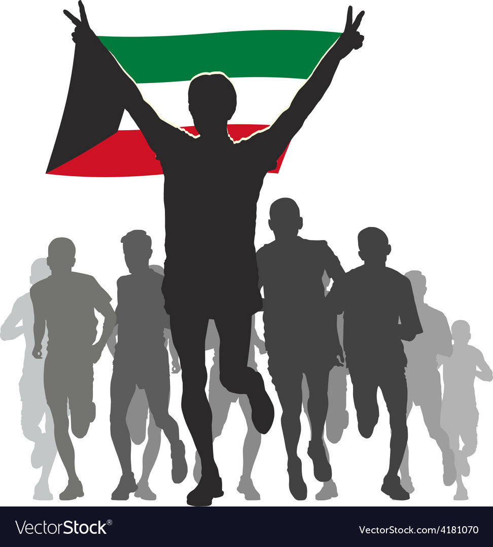 Athlete with the kuwait flag at the finish vector | Price: 1 Credit (USD $1)
