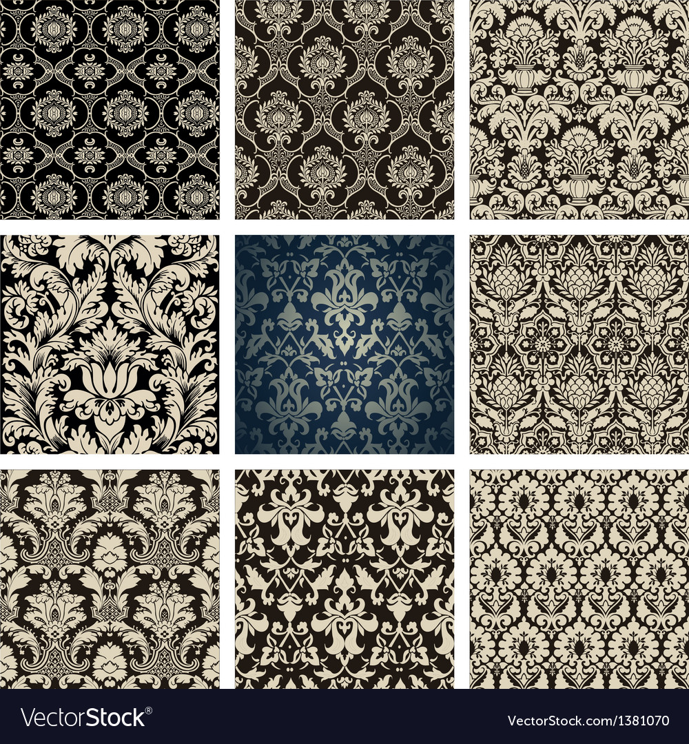 Baroque floral pattern set vector | Price: 1 Credit (USD $1)