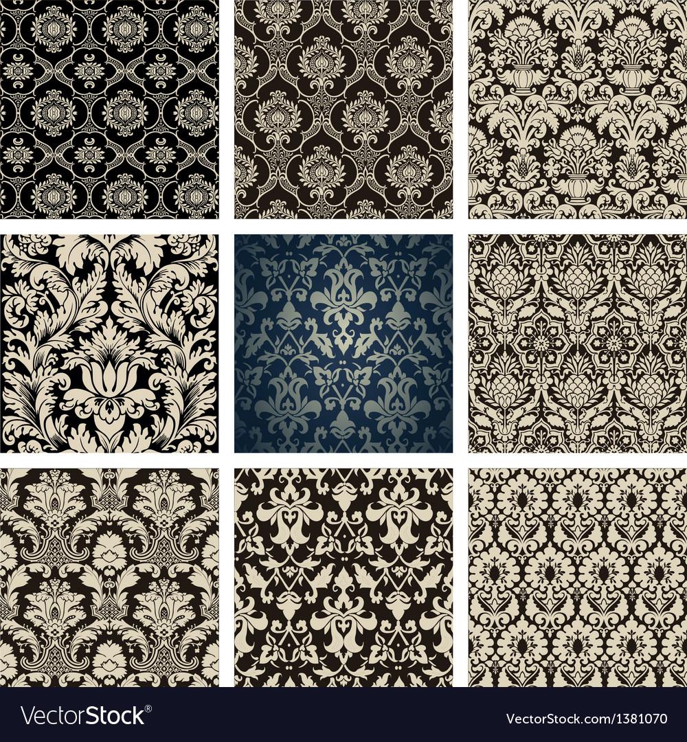 Baroque floral pattern set vector | Price: 1 Credit (USD $1)