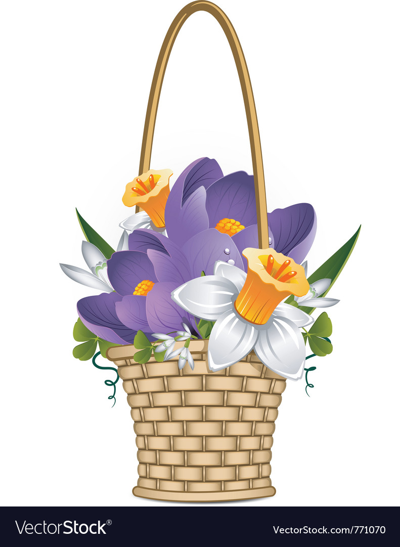 Basket flowers vector | Price: 1 Credit (USD $1)