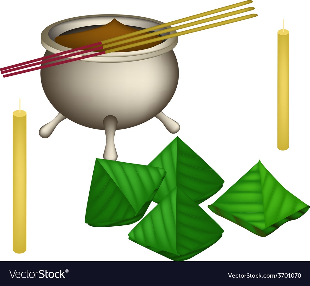 Chinese dough pyramid dessert for new year worship vector | Price: 1 Credit (USD $1)