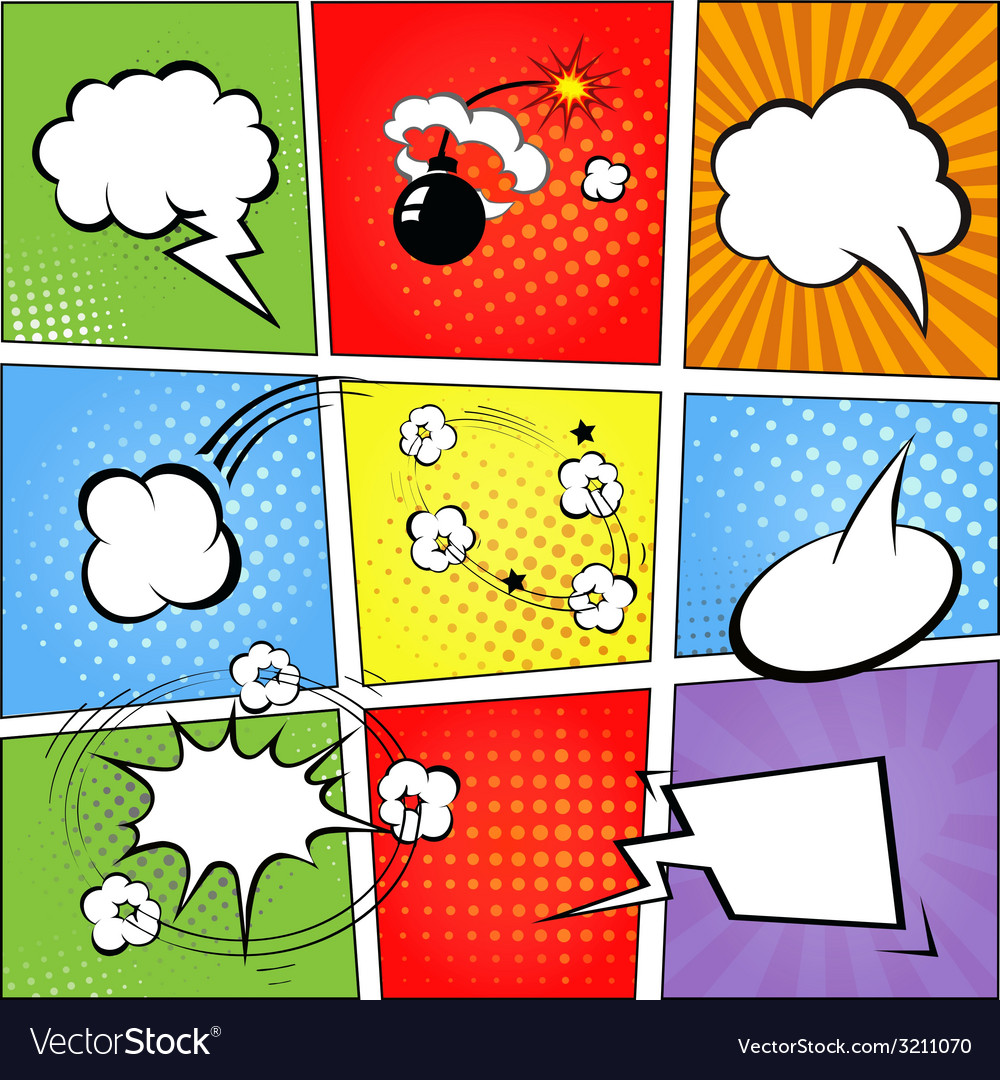 Comic speech bubbles and comic strip background vector | Price: 1 Credit (USD $1)