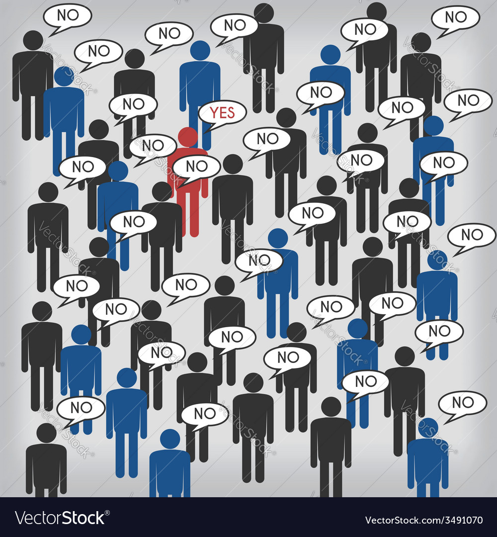 Dissident person in the big crowd vector | Price: 1 Credit (USD $1)