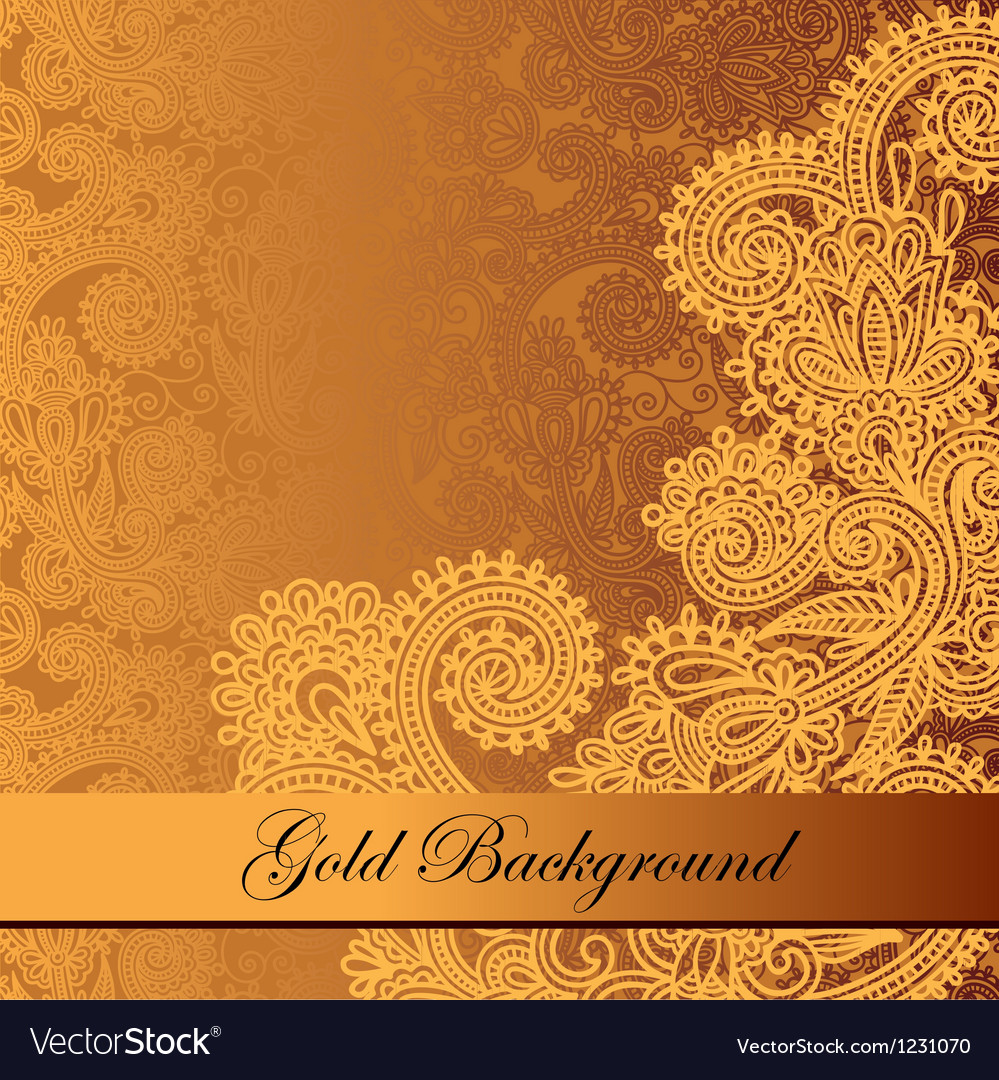 Gold floral background with place for your text vector | Price: 1 Credit (USD $1)