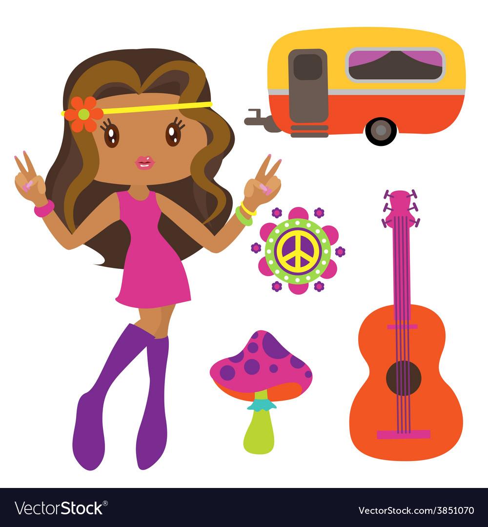 Hippie style clip art vector | Price: 1 Credit (USD $1)
