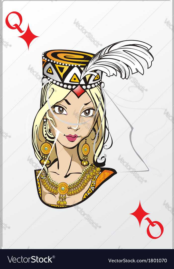 Queen of diamonds deck romantic graphics cards vector | Price: 3 Credit (USD $3)