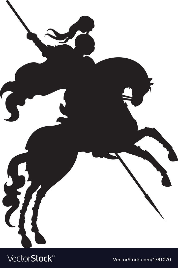 Silhouette of champion knight on a horse vector | Price: 1 Credit (USD $1)