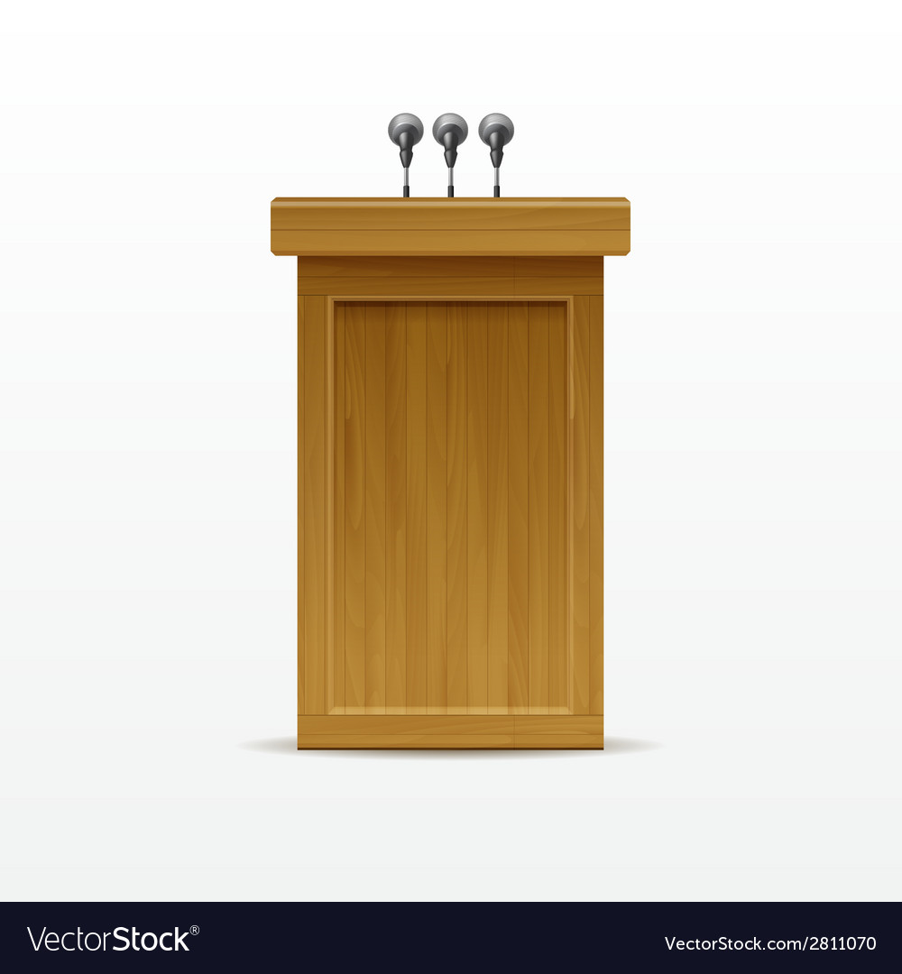 Wood podium tribune rostrum stand with microphones vector | Price: 1 Credit (USD $1)