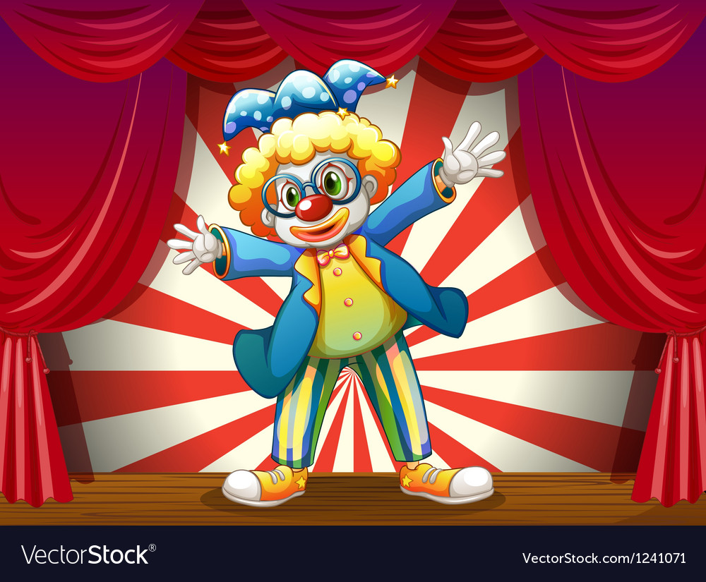 A stage with a funny clown vector