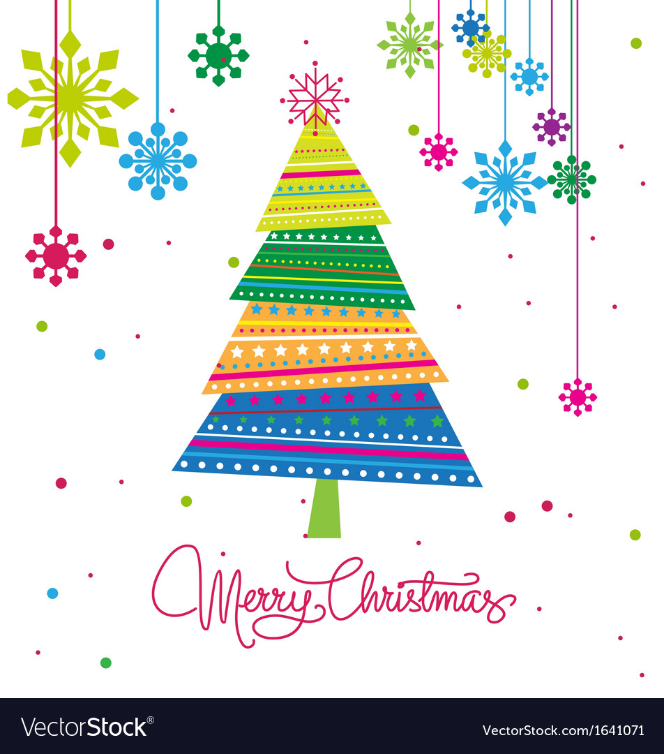 Christmas tree with ornaments xmas card vector | Price: 1 Credit (USD $1)