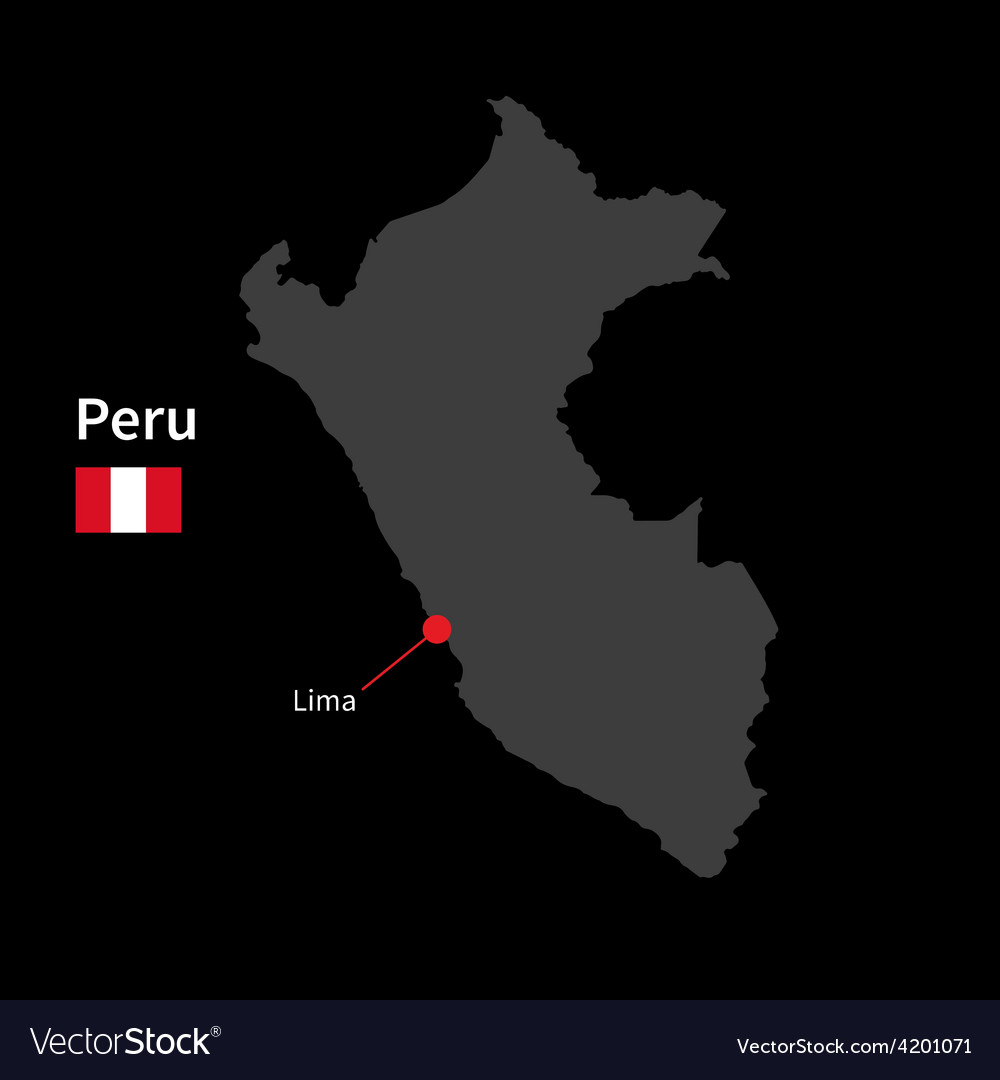 Detailed map of peru and capital city lima with vector | Price: 1 Credit (USD $1)