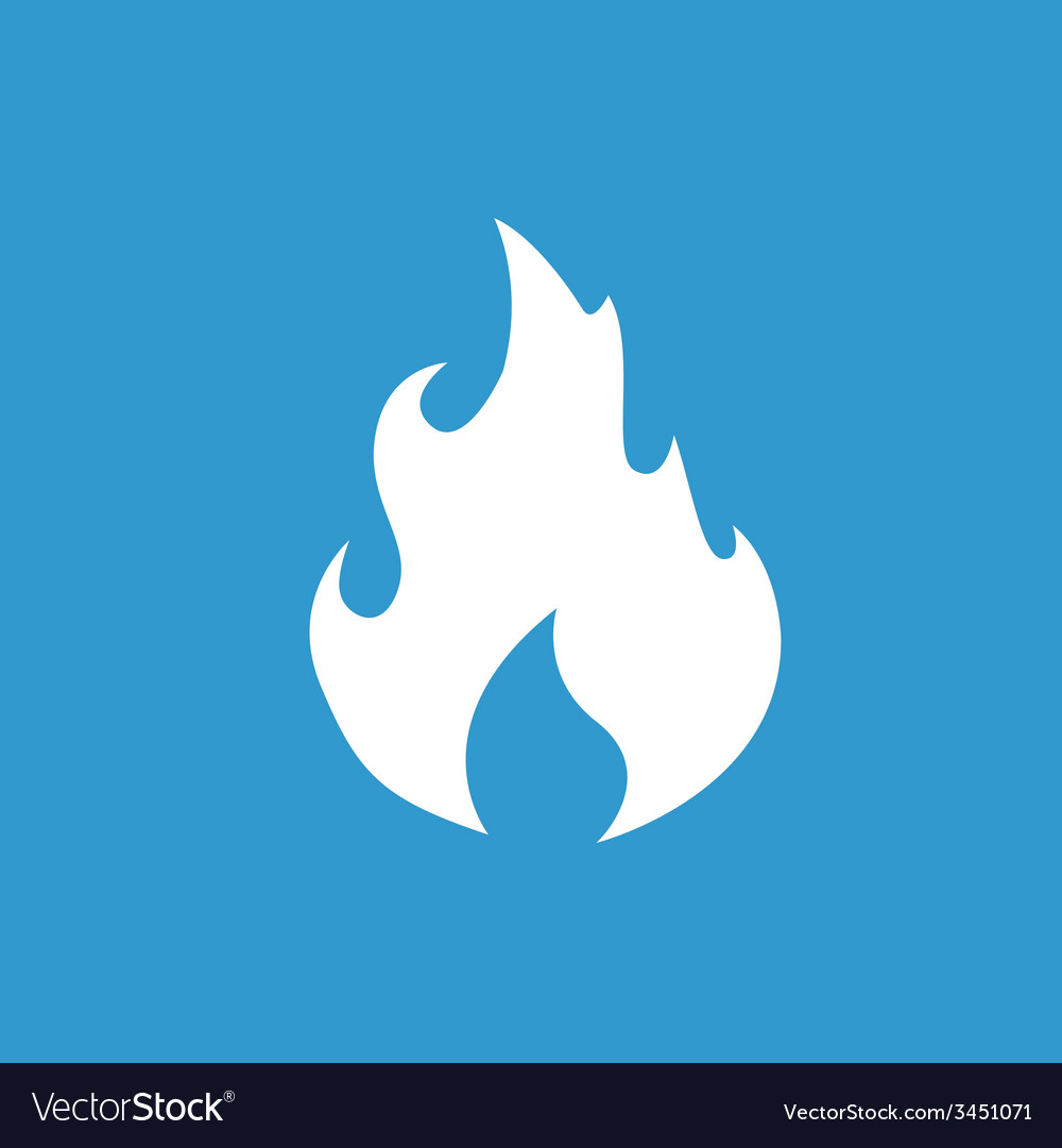 Fire icon white on the blue background vector | Price: 1 Credit (USD $1)