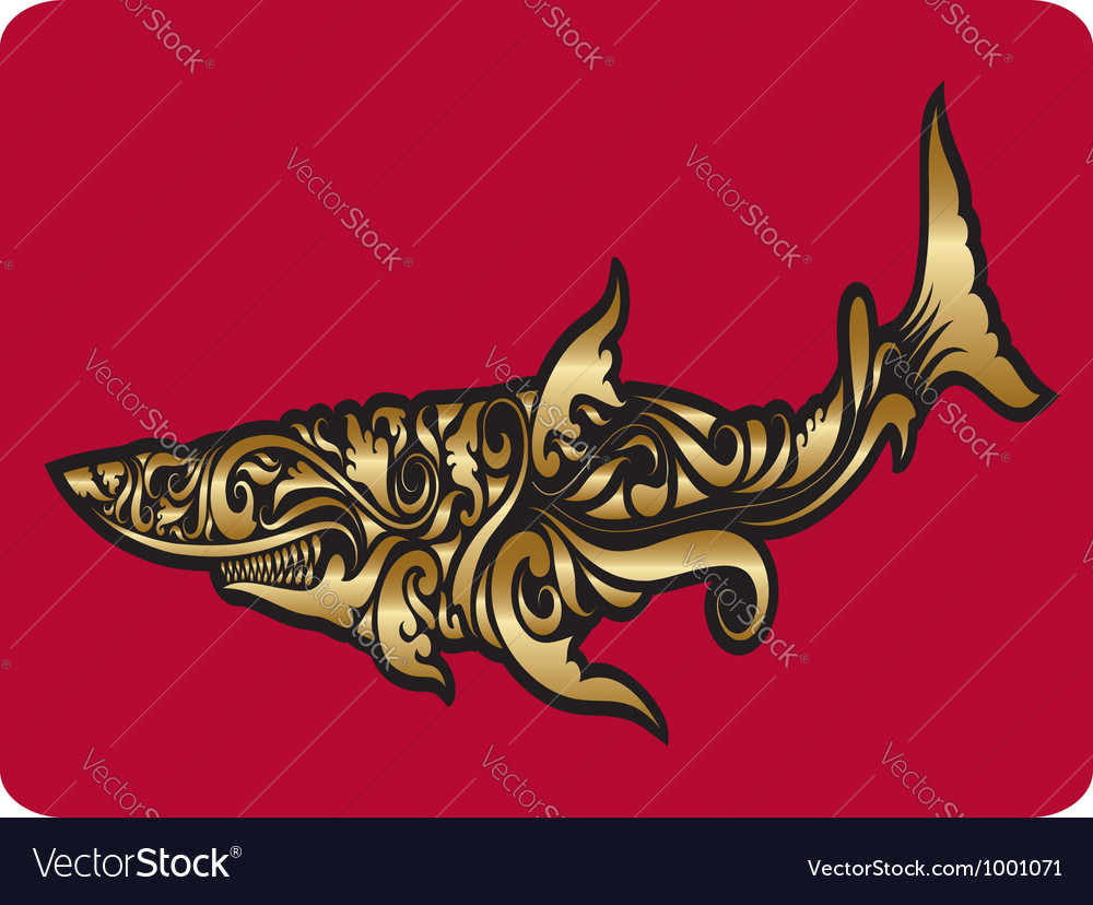 Golden shark ornament vector | Price: 1 Credit (USD $1)