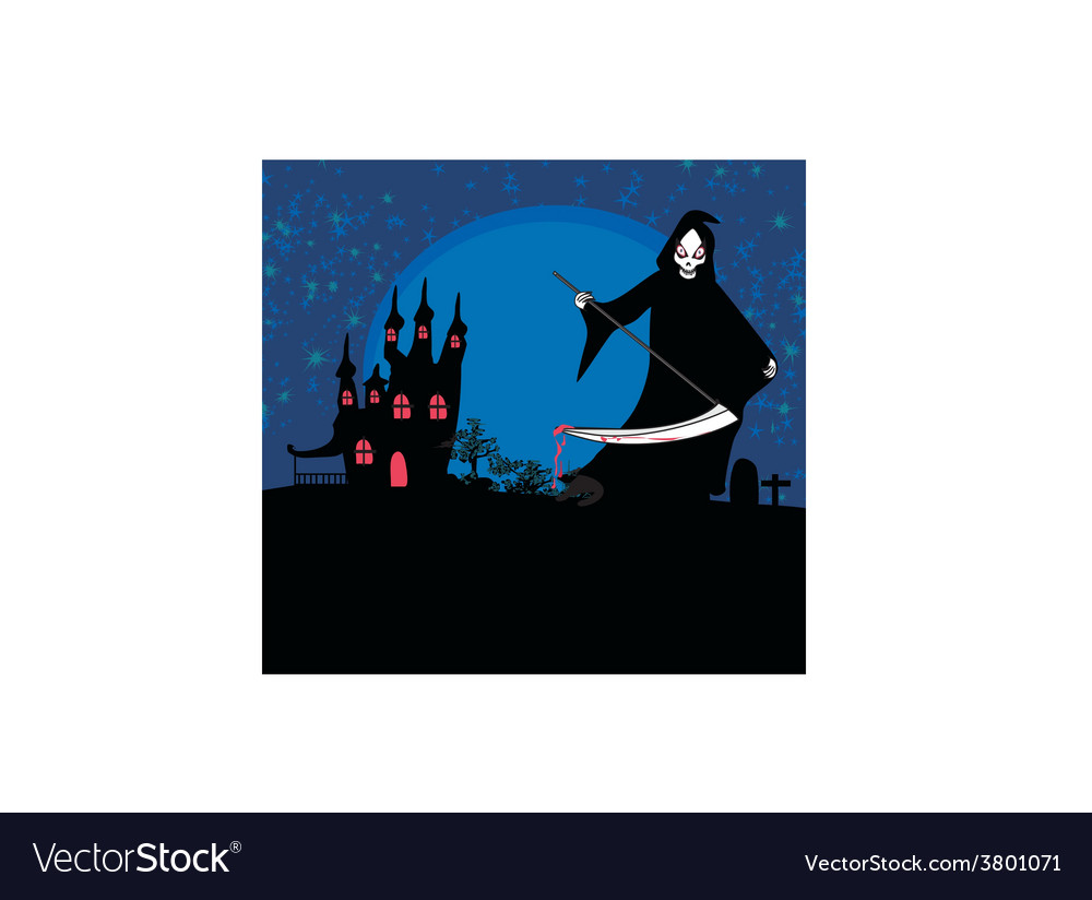 Grim reaper with halloween sign - vector | Price: 1 Credit (USD $1)