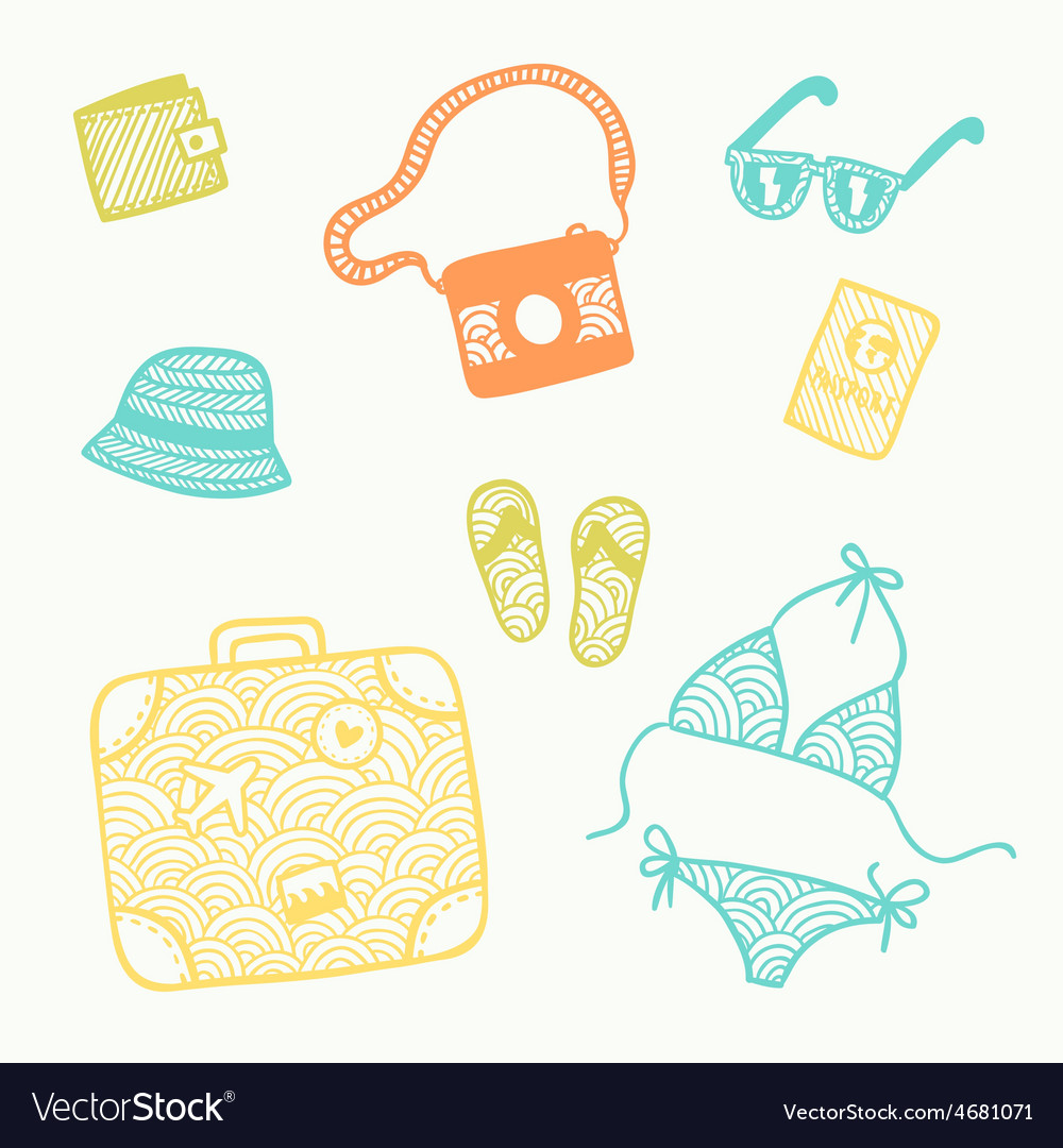 Hand drawn doodle travel set vector | Price: 1 Credit (USD $1)