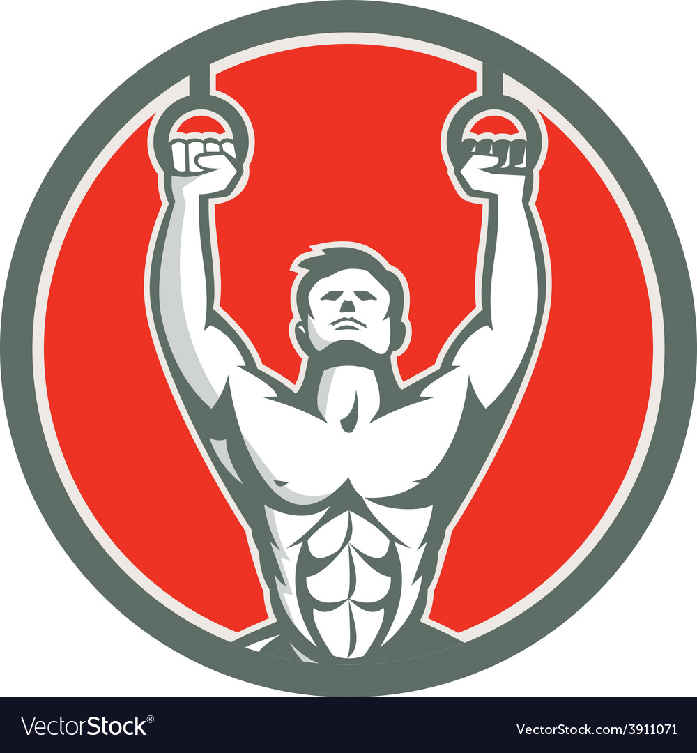 Kipping muscle up cross-fit circle retro vector | Price: 1 Credit (USD $1)