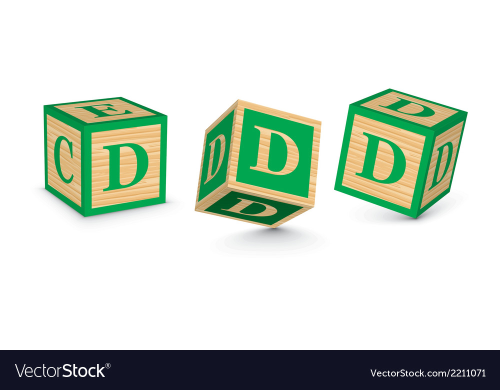 Letter d wooden alphabet blocks vector | Price: 1 Credit (USD $1)