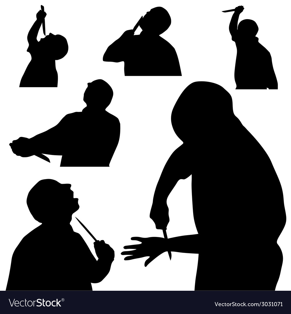 Man with knife silhouette vector | Price: 1 Credit (USD $1)