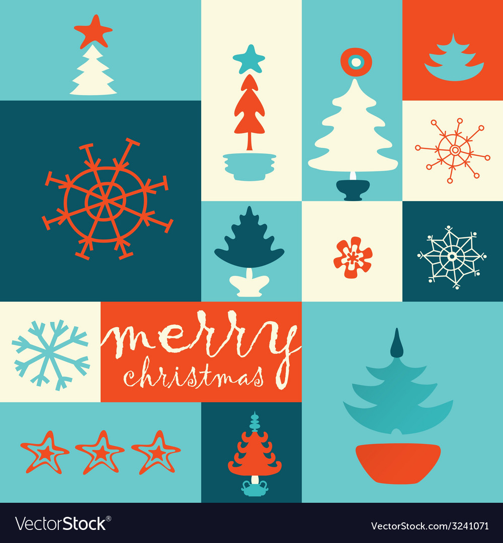 Merry christmas tree post card vector | Price: 1 Credit (USD $1)