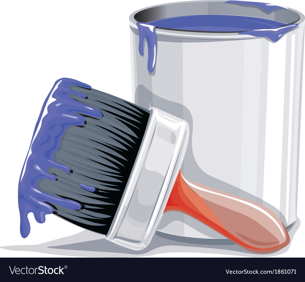 Paint bucket and brush vector | Price: 1 Credit (USD $1)