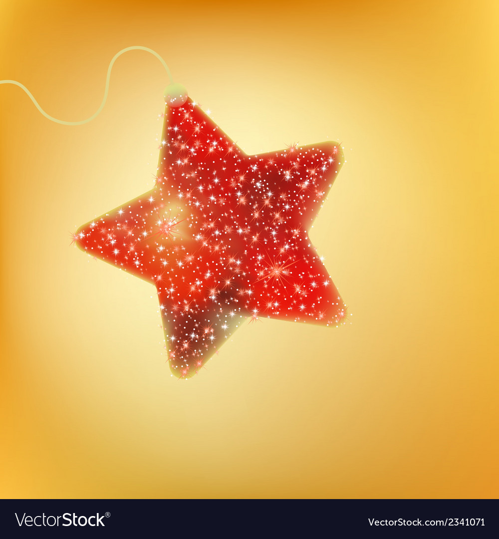Postcard with a twinkling red star eps 8 vector | Price: 1 Credit (USD $1)