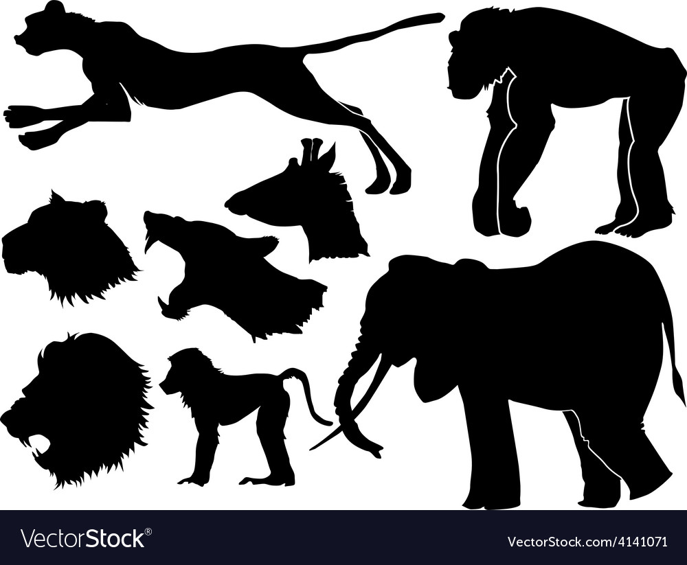 Set of silhouettes of african animals vector | Price: 1 Credit (USD $1)