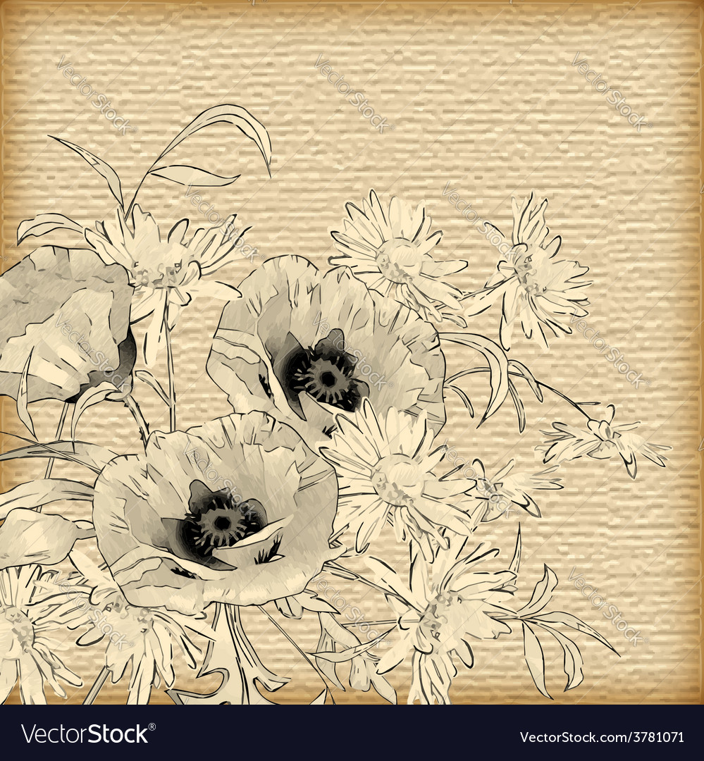 Vintage hand drawing flowers vector | Price: 1 Credit (USD $1)