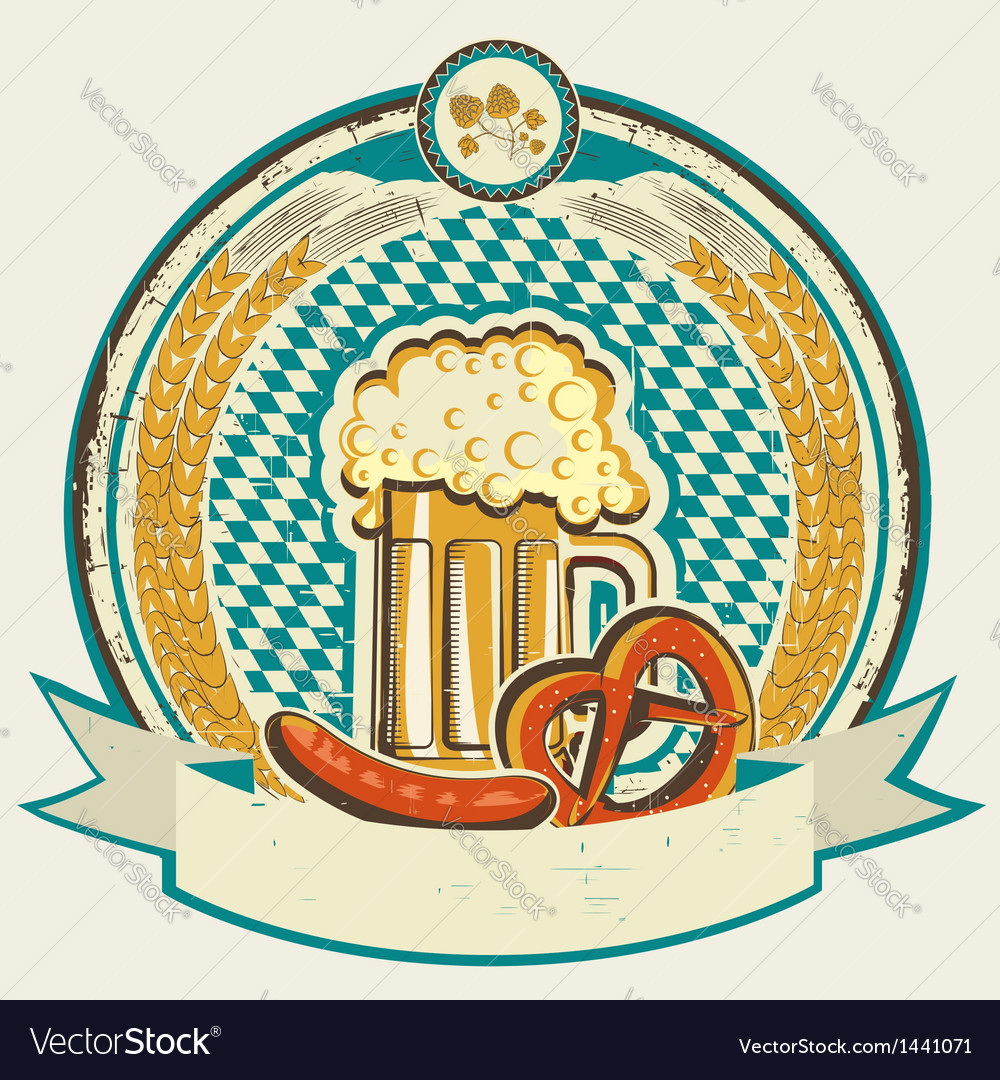 Vintage oktoberfest label with beer and food on vector | Price: 1 Credit (USD $1)