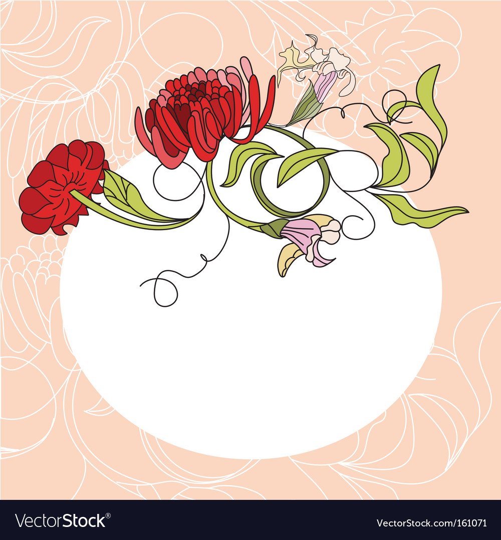 White frame with red flowers vector | Price: 1 Credit (USD $1)