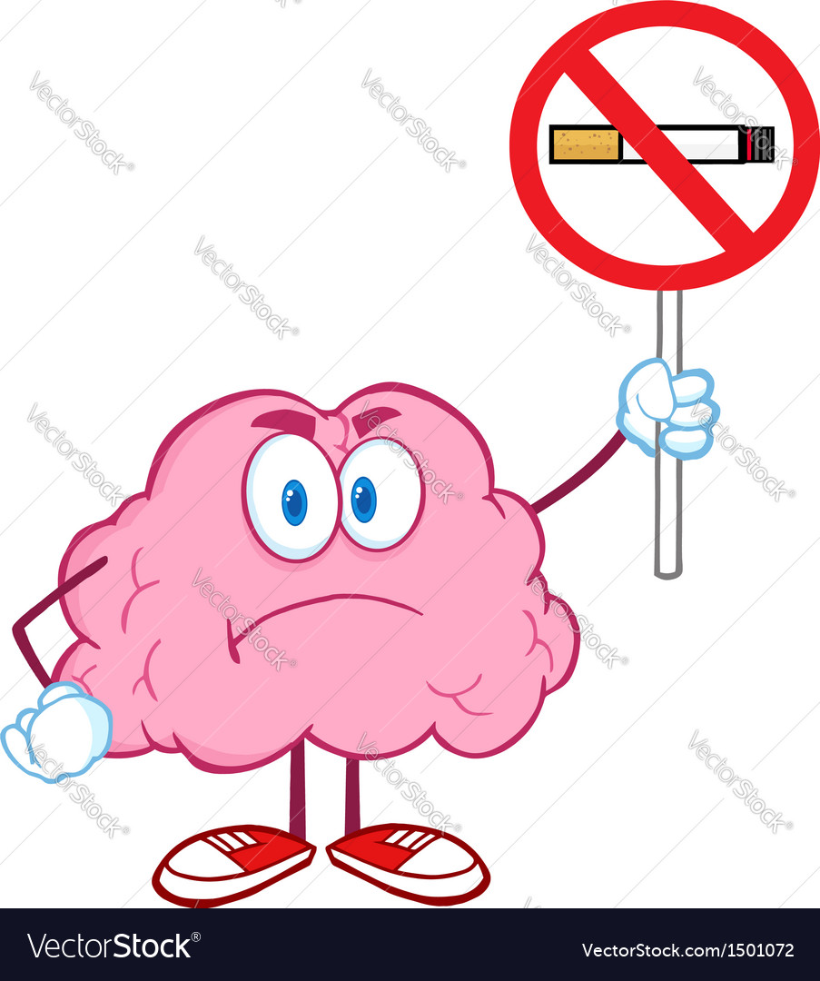 Angry brain holding up a no smoking sign vector | Price: 1 Credit (USD $1)