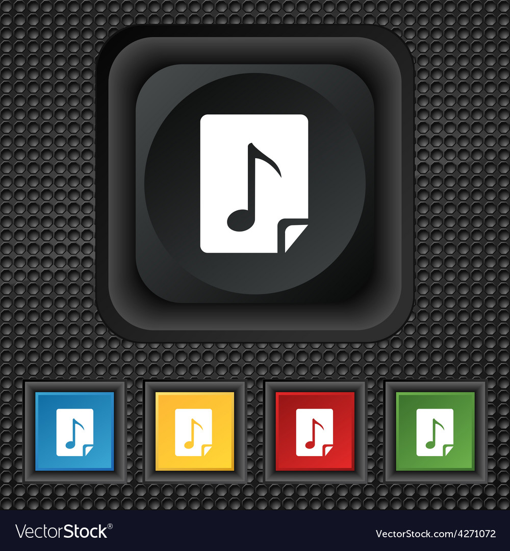 Audio mp3 file icon sign symbol squared colourful vector | Price: 1 Credit (USD $1)