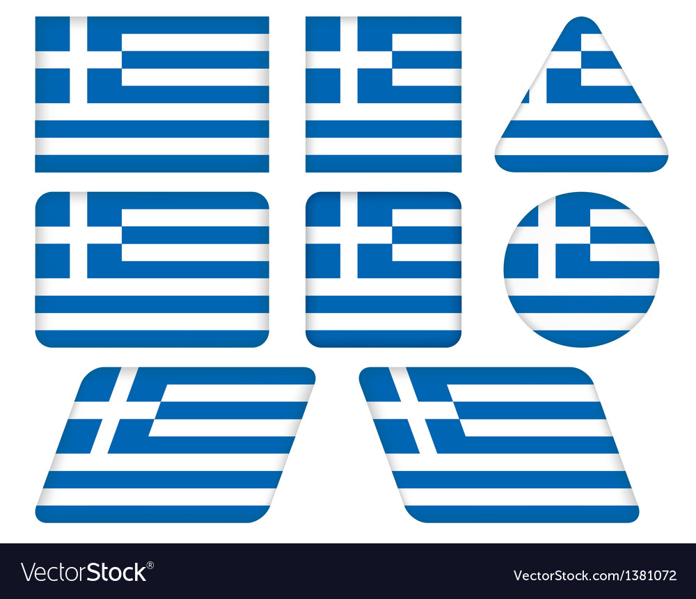 Buttons with flag of greece vector | Price: 1 Credit (USD $1)