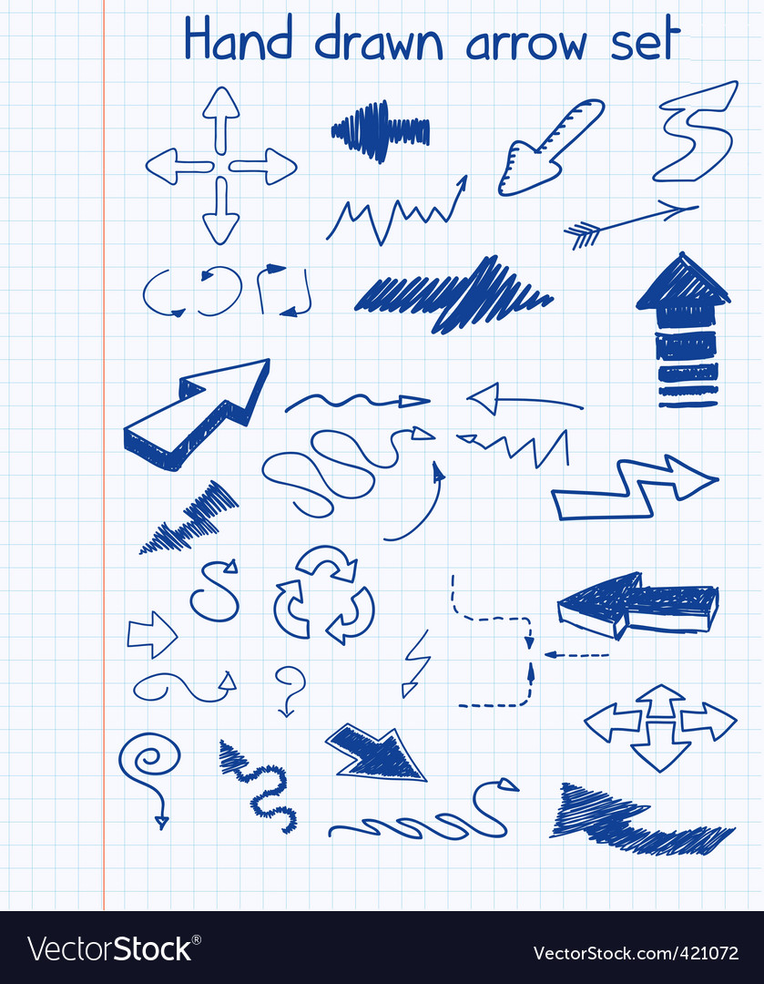 Hand drawn arrow set vector | Price: 1 Credit (USD $1)
