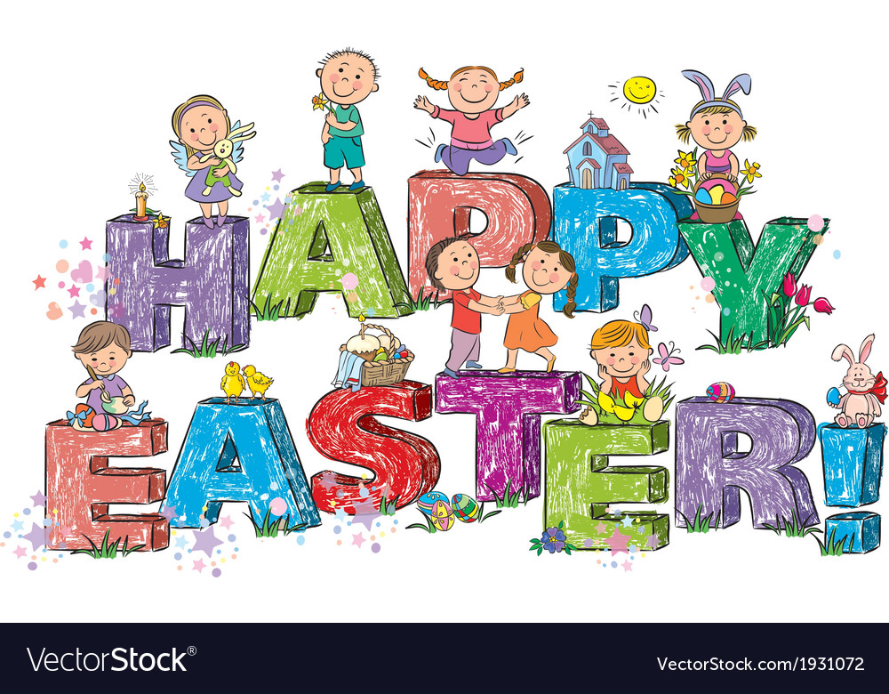 Happy easter kids on letters vector | Price: 1 Credit (USD $1)