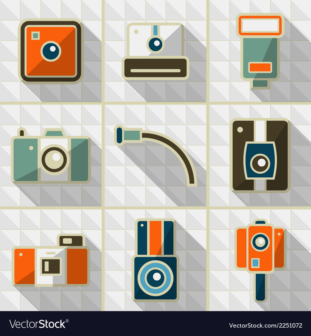 Icons retro camera in flat style vector | Price: 1 Credit (USD $1)