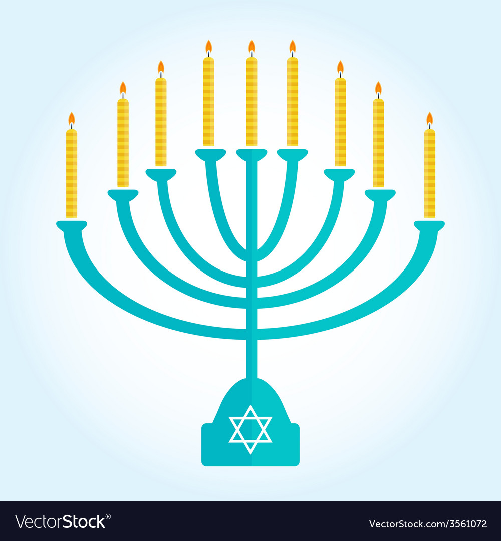 Jewish holiday hanukkah background with burning vector | Price: 1 Credit (USD $1)
