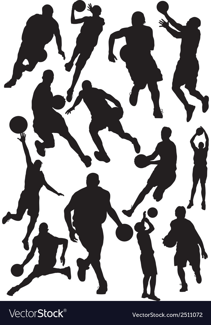 Silhouettes of basketball vector | Price: 1 Credit (USD $1)