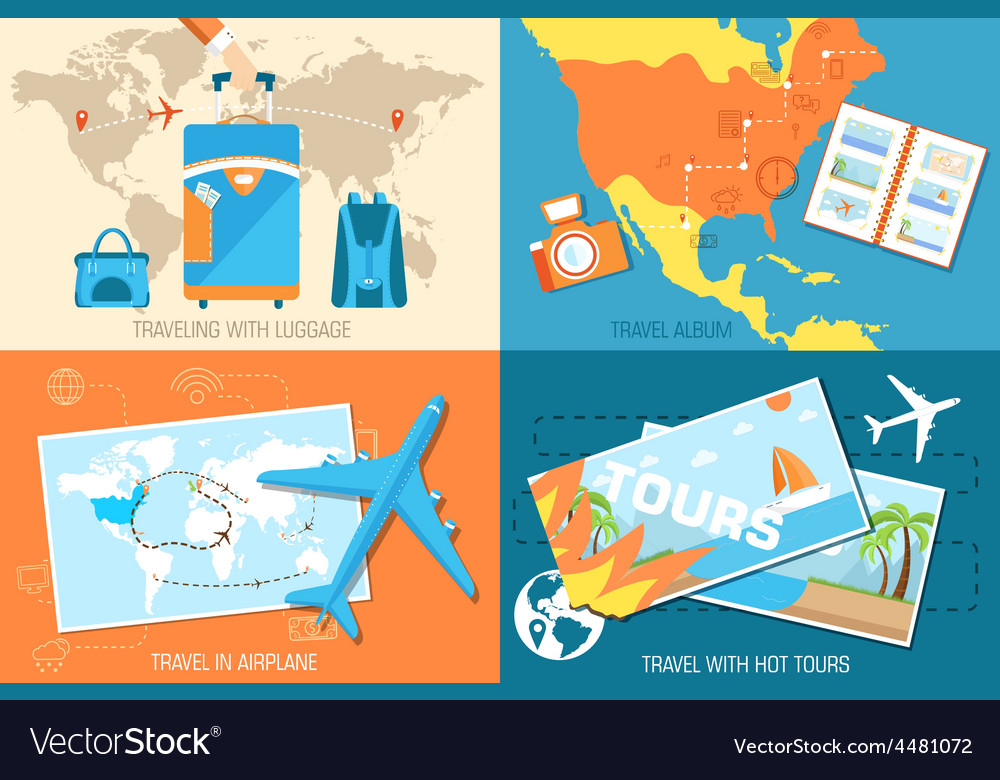 Tour of the world banners concept tourism with vector | Price: 1 Credit (USD $1)