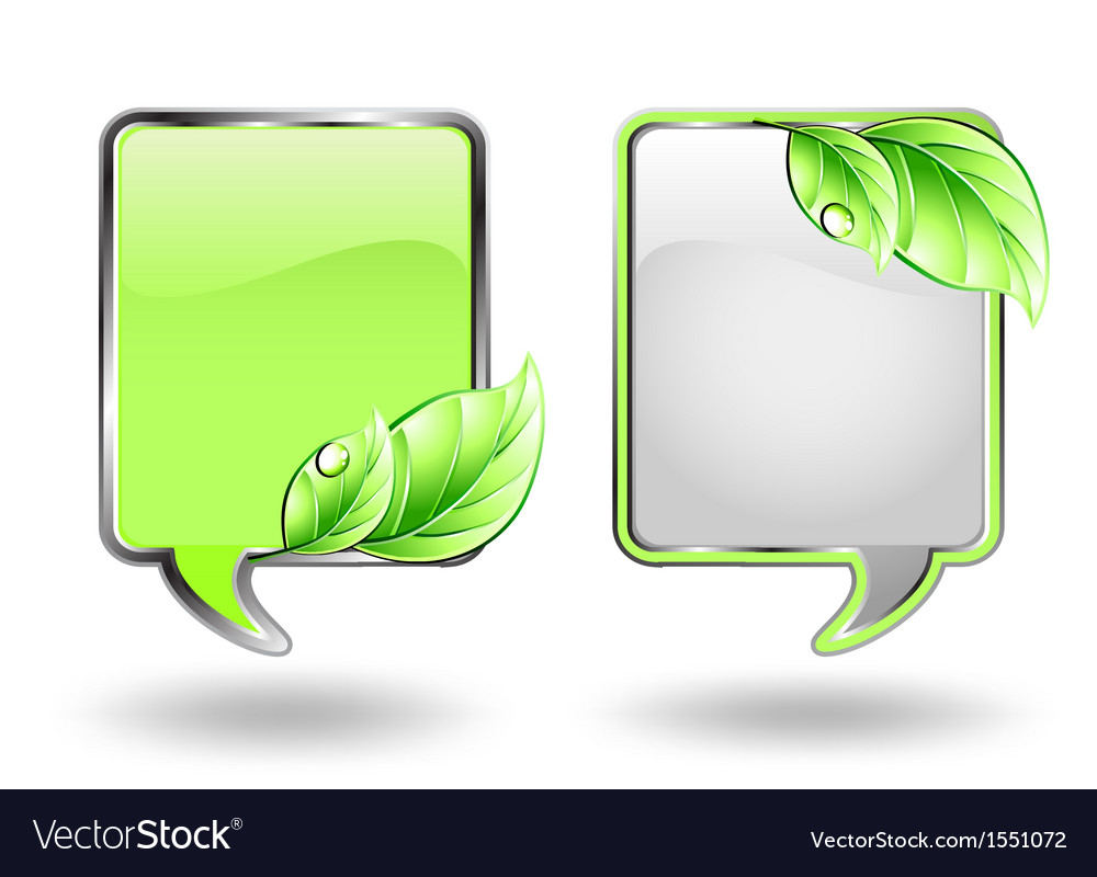 Two banner with green leaf vector | Price: 1 Credit (USD $1)